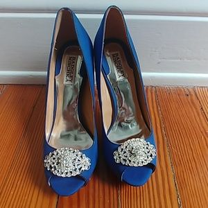 Badgley Mischka blue satin peeptoe heels rhineston